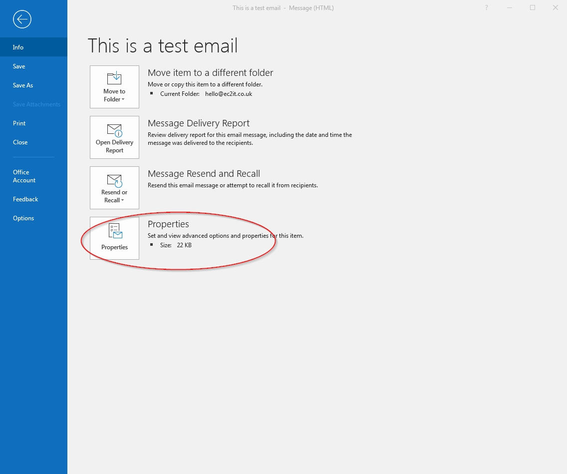 email properties menu